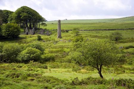 UK, Devon, Dartmoor, industrial heritage ruins at Powder Mills near Postbridge