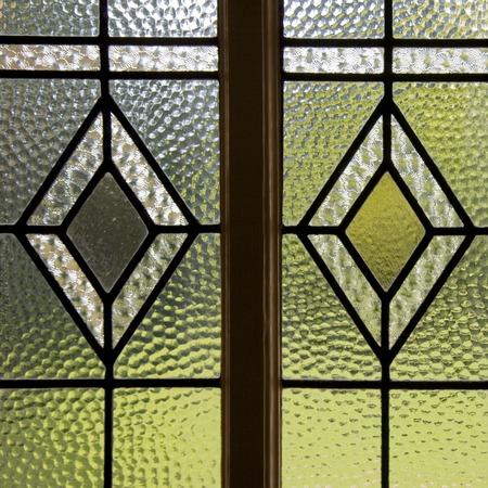 Textured hammered front door glazing pattern
