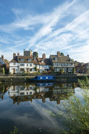 A picturesque group of idyllic cottages near Abbey Mill in the town of Tewkesbury, Gloucestershire, Severn Vale, UK
