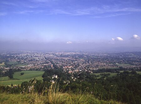 View over Cheltenham, Leckhampton Hill, Gloucestershire, Cotswolds, England, UK, Europe Фото со стока