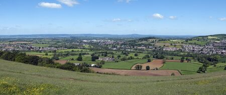 Panoramic views over the Severn Vale from The Cotswold Way long distance footpath on Selsley Common, Stroud, Gloucestershire, Cotswolds, UK
