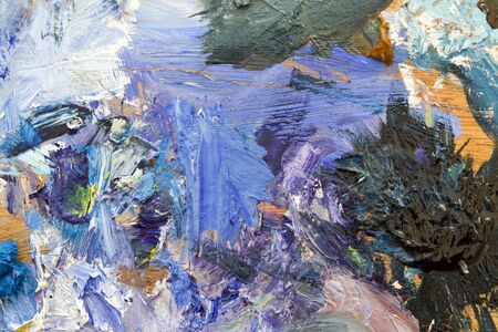 Colourful close-up abstract oil paint palette