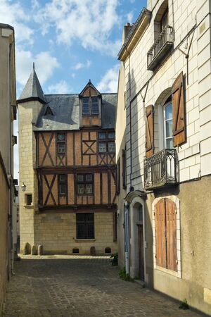 Quaint streets in the vicinity of Cathedral St Maurice, Angers, Maine et Loire, France