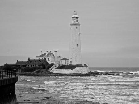 Black and white image of St Marys Lighthouse Stock Photo - 10894378