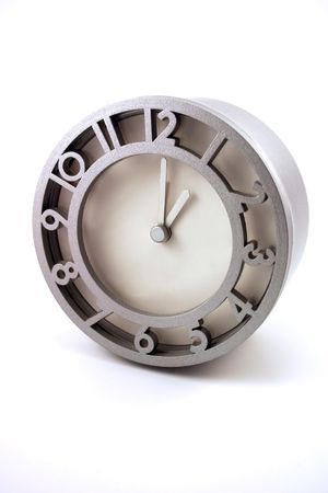 Silver Metallic clock isolated on a white background Stock Photo