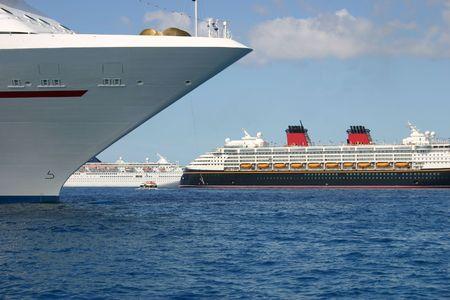 Several Anchored Cruise Ships