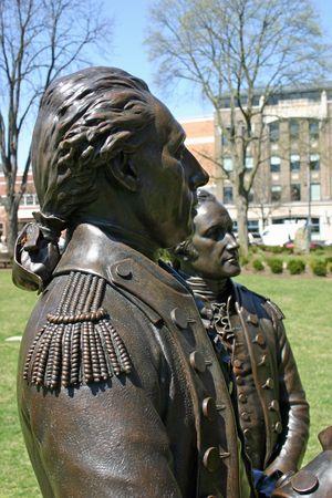 Bronze Statue of George Washington and Alexander Hamilton Stock Photo
