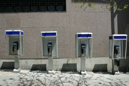 A row of pay phones in Montreal, Quebec