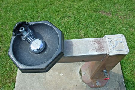 A drinking fountain for the handicapped in a park