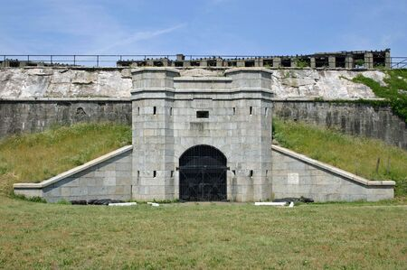 The gun battery called Battery Potter in Sandy Hook, NJ Stock Photo - 3248754