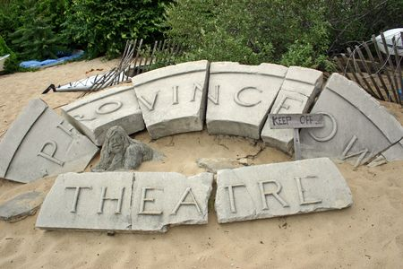 The old Privincetown Theatre sign exhibited on the beach Stockfoto