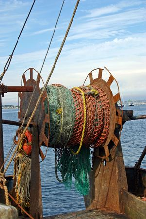 A fishing net on a boat in the harbor of Provincetown, Massachusetts