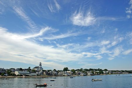 Een veiw van Provincetown, Massachusetts uit de haven Stockfoto - 3403436