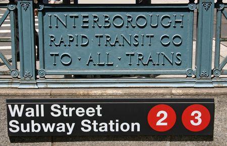 De ingang van het metro station van Wall Street in New York Stockfoto - 3476802