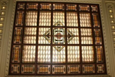 The stained glass ceiling of the Hoboken train station in Hoboken, NJ