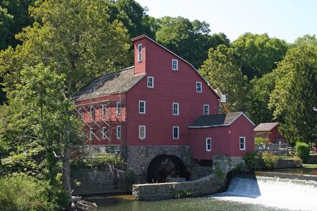 gristmill: The historic Red Mill in Clinton, NJ Stock Photo
