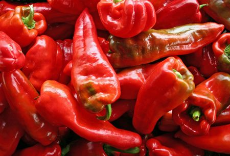 A large group of beautiful red peppers Stock Photo - 3719417