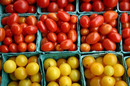A bunch of small containers of cherry tomatoes Stock Photo - 3719421