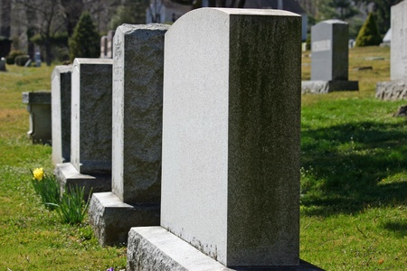 Headstones in a cemetery in New Jersey Stock Photo