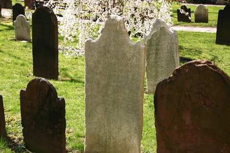 Headstones in a very old church in New York City photo