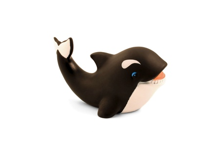 A rubber toy whale for the bath