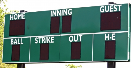 outfield: A green scoreboard in the outfield of a baseball field Stock Photo