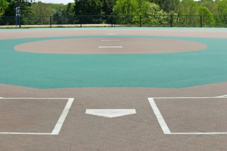 A view of a baseball field from behind home plate