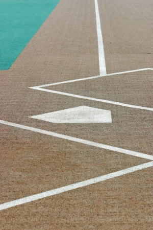 Looking down a baseball field from behind home plate photo