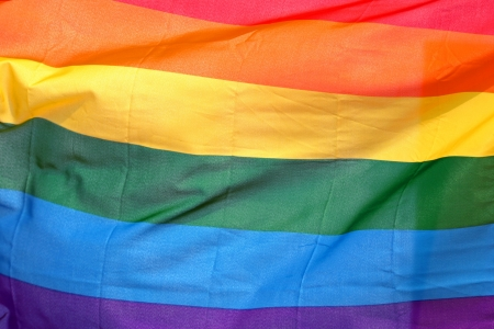 Close up of a large gay pride flag photo