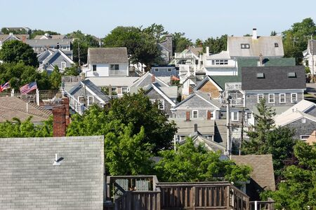 cape cod style: A view of many rooftops in Provincetown, Massachusetts