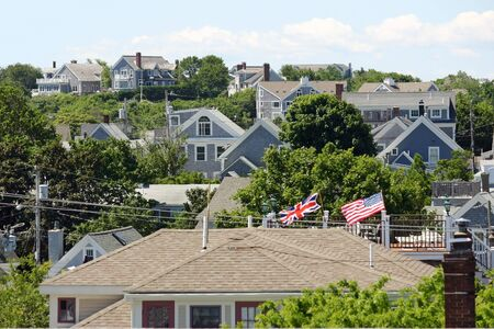 A view of many rooftops in Provincetown, Massachusetts photo