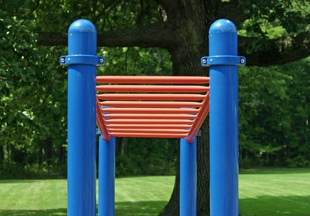 rungs: A set of red bars in an empty playground