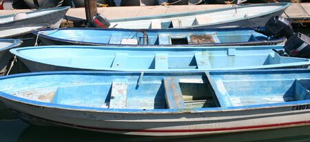 afloat: A bunch of rowboats tethered to a dock
