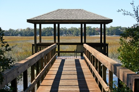 A pavillion overlooking a marsh in Hilton Head, South Carolina photo