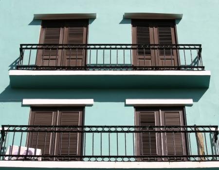 Pretty pastel balkons in San Juan, Puerto Rico Stockfoto - 19357382