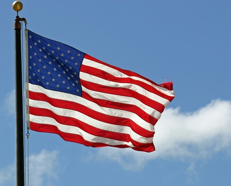 A pretty American flag waving in the wind Stock Photo