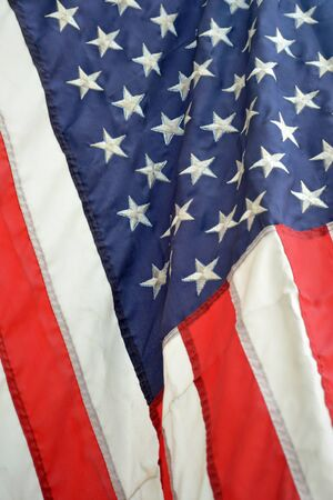 A close up of a flag blowing in the breeze photo