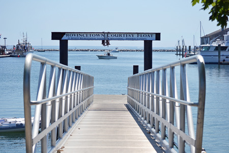 a courtesy: The courtesy float in Provincetown, Massachusetts on a sunny day Stock Photo