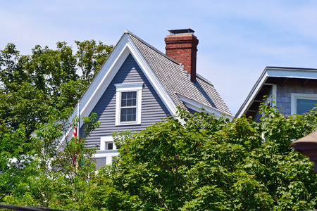 cape cod style: A pretty house on a sunny day in Provincetown, Massachusetts Stock Photo