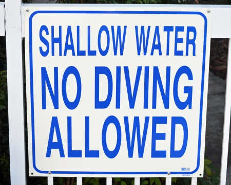 A blue and white sign that reads No Diving photo