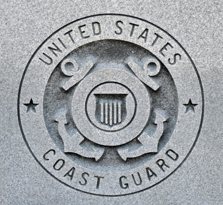 The seal of the United States Coast Guard engraved into granite Stock Photo