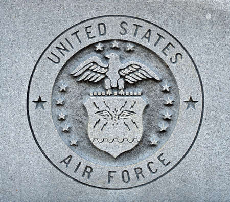 united states air force: The seal of the United States Air Force engraved into granite