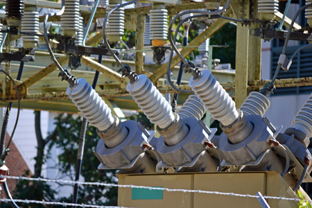 superconductor: A view of a high voltage substation with switches and insulators