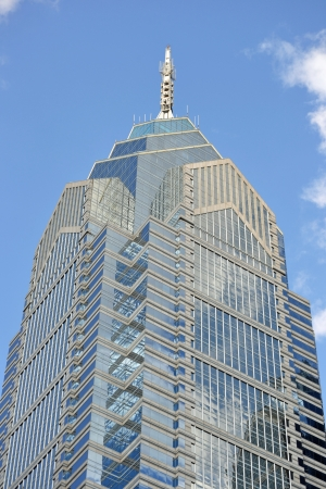 A view of One Liberty Place in Philadelphia, Pennsylvania on a sunny day