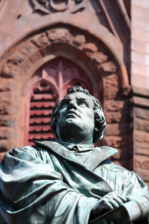 A statue of Martin Luther outside of Luther Place Memorial Church in Washington DC Stock Photo