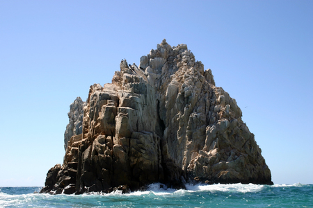 A rock formation at Los Arcos in Cabo San Lucas, Mexico Stock Photo