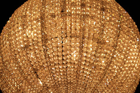 Closeup of a crystal sphere chandelier