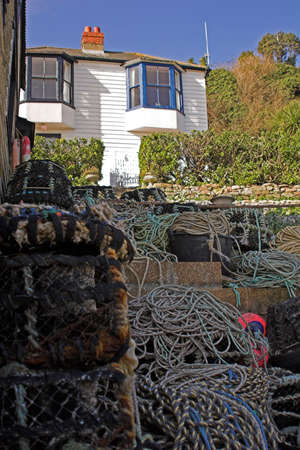lobster pots: Fishermans house with lobster pots