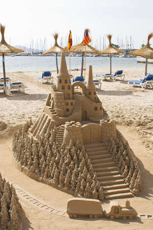 laze: sand sculpture castle on beach
