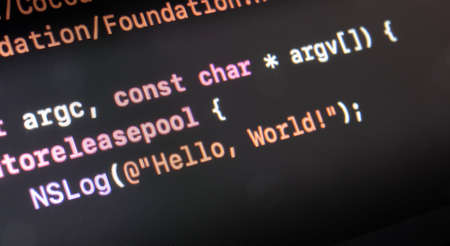 hello world application written in objective C on a computer screen